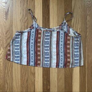 B Jewel Tops - Tribal Print Silky Crop Top